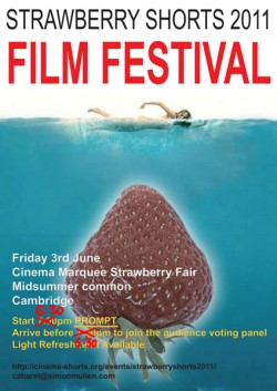 Event poster for The Strawberry Shorts Film Festival 2011 by Helen Judge
