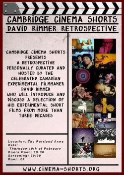 event poster for David Rimmer Retrospective